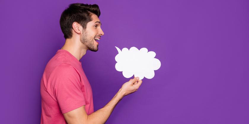 Man with speech cloud