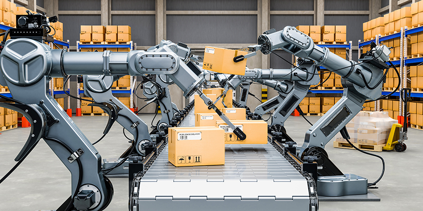 robots working in warehouse taking boxes off conveyor belt