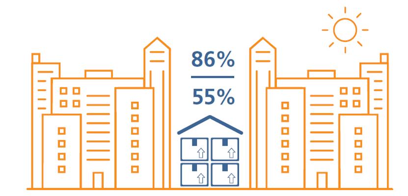 pictogram of orange and blue office blocks