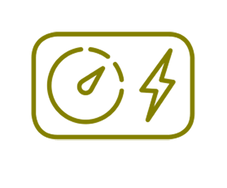 Pictogram of a gas meter dial and an lightning bolt