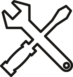 pictogram of a screwdrive and spanner