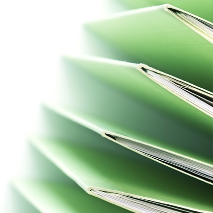 green stacked files