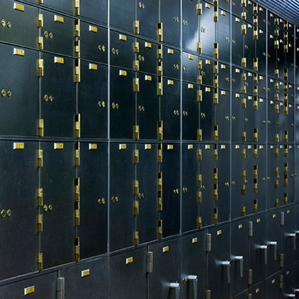 photograph of safety deposit boxes