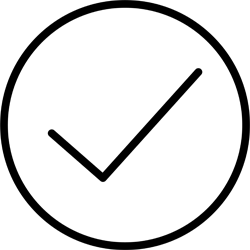 Pictgram of a checkmark in a circle