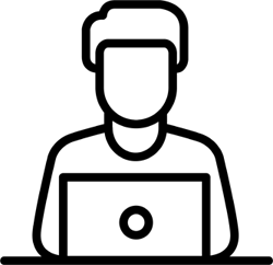 pictogram of a person sitting at a PC