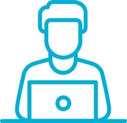 Pictogram - turquoise person operating a PC