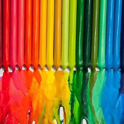 colourful crayons melting