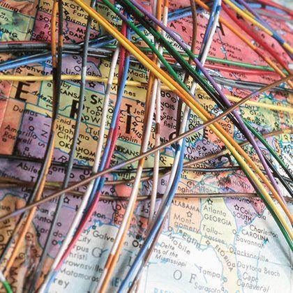 colourful wires around globe