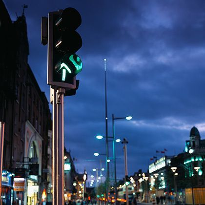 long angle view of a traffic signal in dublin