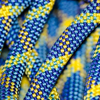 closeup of a yellow-blue climbing rope