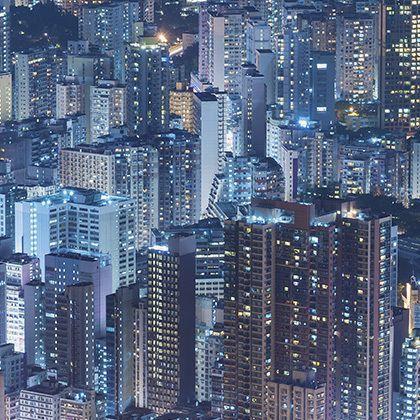 bird's eye view at hong kong city lights in the night