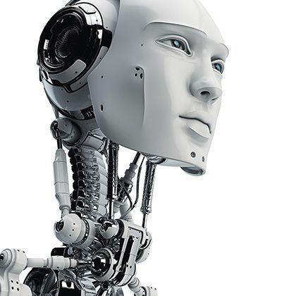 futuristic handsome cyborg head in profile