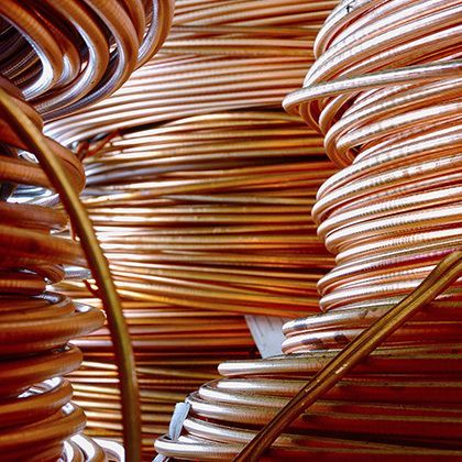 macro of rolled up copper wire