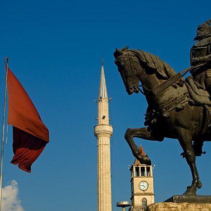 skanderberg monument in tirana albania