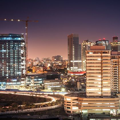 long exposure photograph in the evening of luanda the capital of angola