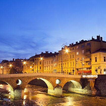 bridge on miljacka river in sarajevo the capital city of bosnia and herzegovina, at dusk