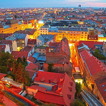 zagreb cityscape beautifully illuminated at dawn
