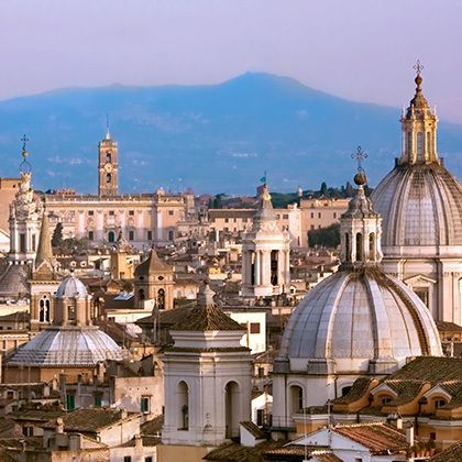 view from above to downtown of rome, italy