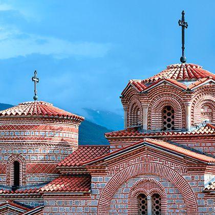 view at beautifully painted saint panteleimon monastery in ohrid, macedonia