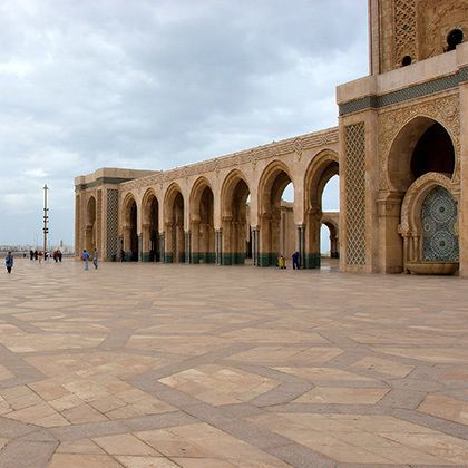 a square in front of the hassan 2 mosque in casablanca, morocco