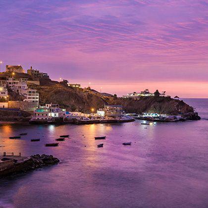 beach town at the evening in san bartolo, lima, peru