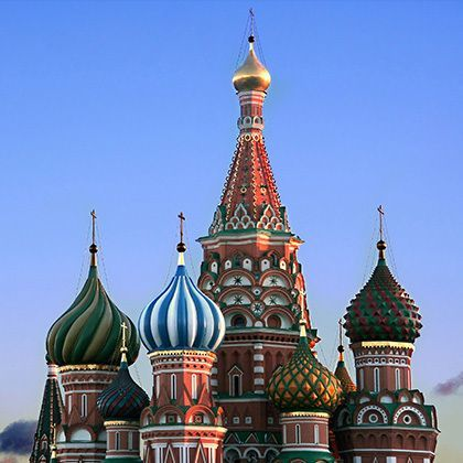 view at colourful romantic st basils cathedral, moscow