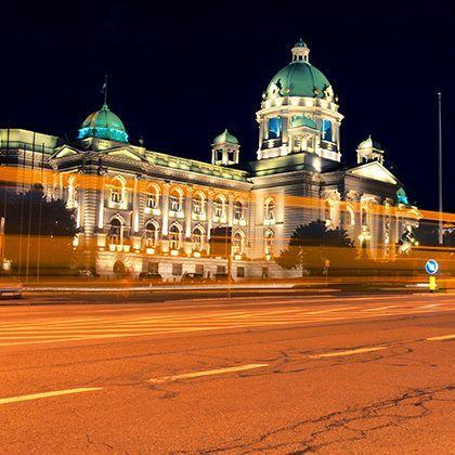 serbian parliament in belgrade at night
