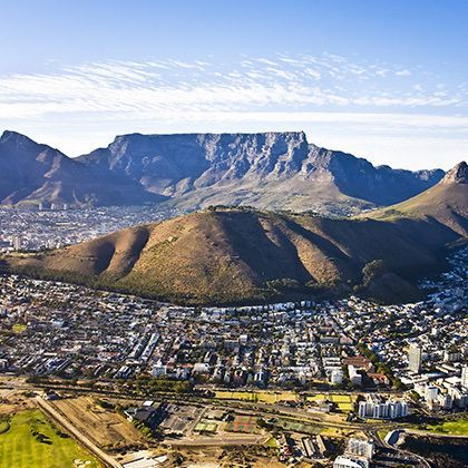 aerial view of cape town with green point and sea point with table mountain and lions head
