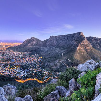 beautiful view after sunset on cape town and table mountains