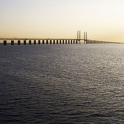 view of the oresund bridge before sunrise, sweden