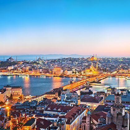 panoramic view over istanbul city after sunset