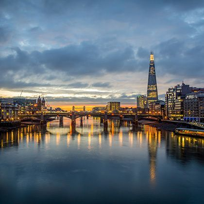 a view from the london skyline from the millenium bridge