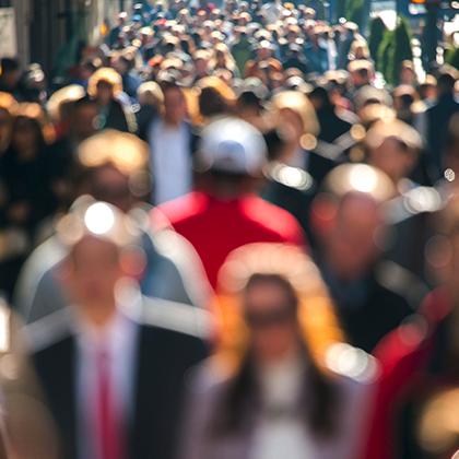 Crowd of people walking in the street