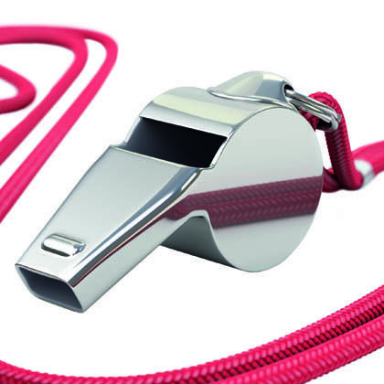 Silver whistle with red cord