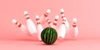 Watermelon strike with bowling